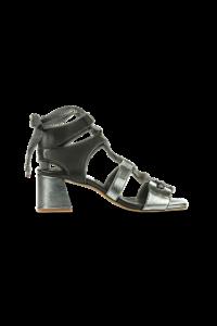 sandalia plata y negra con cintas 1