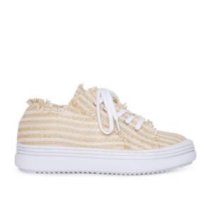 Sneaker rafia blanca y beige 1