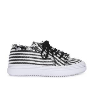 Sneaker rafia blanca y negra 1